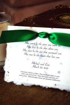 Wedding Favors But Could Be For Any Party Invitation Irish Blessing Plantable Poem