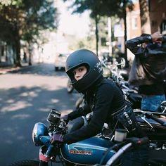 caferacerpasion:  Suzuki Cafe Racer - Cafe Racer Girl   caferacerpasion.com