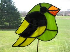Yellow and Lime Doodle Bird - Stained Glass Suncatcher
