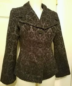 J. Jill deep blue jacquard blazer size 2 wide collar flared sleeves beautiful!  | Clothing, Shoes & Accessories, Women's Clothing, Suits & Blazers | eBay!