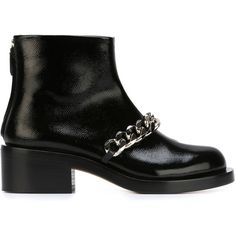 Givenchy chain detail ankle boots ($775) ❤ liked on Polyvore featuring shoes, boots, ankle booties, black, chunky booties, low heel black booties, short boots, black boots and chunky black boots