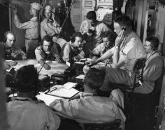 WWII: CHART ROOM, 1943. Chart room on board the USS Lexington aircraft carrier, as it moves into enemy waters during the strike on Gilbert and Marshall Islands, December 1943.