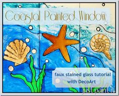 how to make a faux stained glass Coastal Window with DecoArt glass paint!