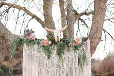 Animal Skull & Macrame Backdrop // Rustic Bohemian Wedding // Bay Area Photographer // Olivia Richards Photography