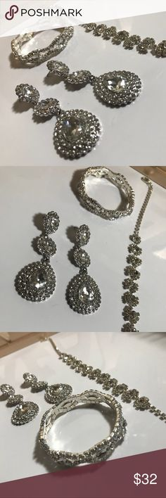 Bridal Accessory Set Bridal Accessories only one once on my wedding day 2 weeks ago! Perfect for a New Year's Party or formal event! Monet Jewelry Earrings