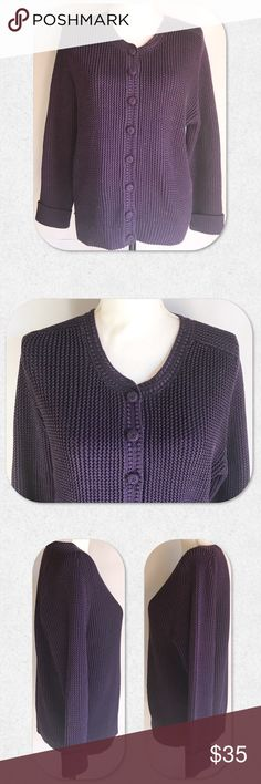 Peruvian Connection Purple Cardigan Sweater NWOT. Absolutely gorgeous sweater from Peruvian Connection. 100% Pima Cotton. Size L. True to size. Peruvian Connection Sweaters Cardigans