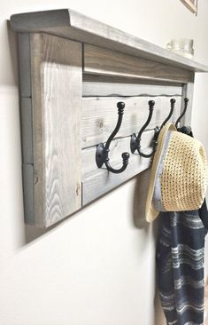 Wood grey entryway coat rack with hooks, rustic home decor, bathroom towel Rustic Wooden Shelves, Wooden Wall Hooks, Wooden Rack, Wooden Diy, Entryway Coat Rack, Diy Coat Rack, Rustic Coat Rack, Coat Racks, Wooden Pallet Projects