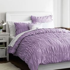 Ruched Duvet Cover + Sham, Full/Queen, Lavender