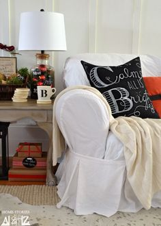 Tutorial on how to make Pottery Barn knock off Chalkboard Art Christmas Pillow.