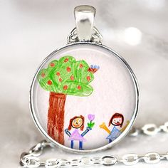 Your Kid's Artwork Necklace, Personalized Keepsake Necklace, Custom Children Drawing Jewelry glass dome art pendant.  Like the antique bronze version