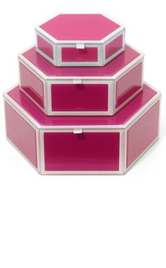 Jewelry Boxes, Glass Encased Pink Lacquer Jewelry Boxes, so beautiful, one of over 3,000 limited production interior design inspirations inc, furniture, lighting, mirrors, tabletop accents and gift ideas to enjoy repin and share at InStyle Decor Beverly Hills Hollywood Luxury Home Decor enjoy & happy pinning