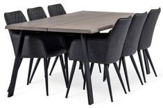 Hope Matgrupp Gråoljad Ek/Svart 210cm - Inkl 6st Nova Stolar Dining Chairs, Dining Table, Apartment Interior, Outdoor Furniture, Outdoor Decor, Teak, Kitchen, Home Decor, Decoration