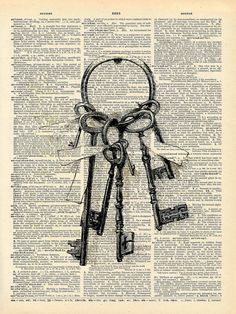 Vintage Book Art Print Skeleton Keys Upcycled by missquitecontrary, $10.00