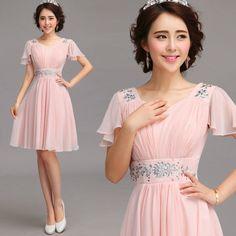 Elegant Pink Chiffon With Rhinestone Details Prom Dress