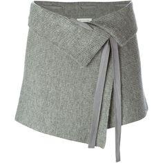 Isabel Marant Étoile 'Lyneth' skirt ($210) ❤ liked on Polyvore featuring skirts, bottoms, grey, short wrap skirt, wrap skirt, gray skirt, short grey skirt and grey skirt