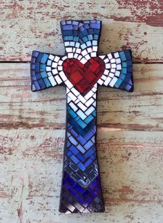 Tonos de cruz azul  medio por DeniseMosaics en Etsy