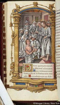 Sv. Marta ~ St. Martha; Vzkříšení Lazara; Kniha hodinek, 1515, Francie, Paříž; The Morgan Library & Museum