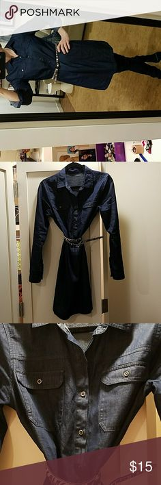 """Denim shirt dress Dark denim shirt dress (belt not included).  Unsure of brand. Super cute belted.  Wore a few times only, just not my style. 35"""" long shoulder to bottom hem; 18"""" across chest (armpit to armpit). Dresses Midi"""