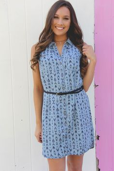 We are crushing on this animal print light denim tank dress. Dress comes with the belt!
