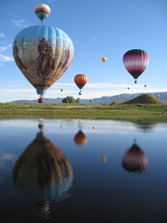Hot Air Balloons, Steamboat Springs, Colorado, they do this every year and when the baloons first go up all together it is AMAZING
