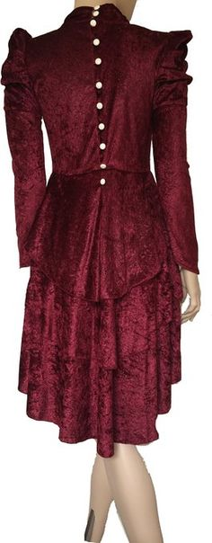 Red Victorian Vintage Velvet Burgundy Blouse Dress Top. ( Back View )