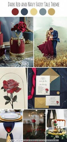 dreamy dark red and navy beauty and the beast fairytale fall wedding ideas - . dreamy dark red and navy beauty and the beast fairytale fall wedding ideas – Red Fall Weddings, Fall Wedding Colors, Wedding Color Schemes, Romantic Weddings, Navy Red Wedding, Cream Wedding, Vintage Weddings, Spring Wedding, Unique Weddings