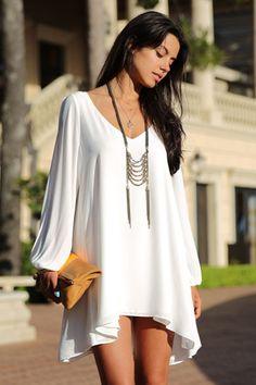 0dc783ed3f29fc Beautiful White Bohemian Design High Low Long Sleeve Chiffon Dress White  Long Sleeve