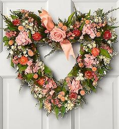 Preserved Floral Pink Rose Heart Hydrangea Wreath | eBay
