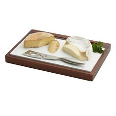 """Acacia Wood Cheese Board with Ceramic & Stainless Steel Knife - 14 1/2"""" x 10"""" x 1 1/4"""""""