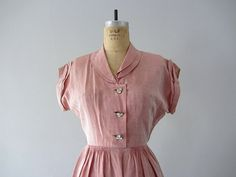 Pink silk dress . 40s 50s party dress . size small by BlueFennel, $195.00