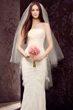 Véus de Noiva Cortar a borda Duas camadas Tule Véus de valsa