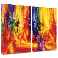 'Dance 1, 2000' by Bayo Iribhogbe 2 Piece Painting Print Gallery-Wrapped on Canvas Set