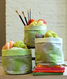 Mollys Sketchbook: Sewn Stash Baskets - The Purl Bee - Knitting Crochet Sewing Embroidery Crafts Patterns and Ideas!