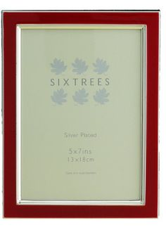 "Silver Plate and Red Enamel Vintage Retro Style Photo Frames for a 7""x5"" (178x127mm) Picture - Zurich, by Sixtrees Zurich http://www.amazon.co.uk/dp/B007C3MCFE/ref=cm_sw_r_pi_dp_Fyp.tb0GFY43Q"