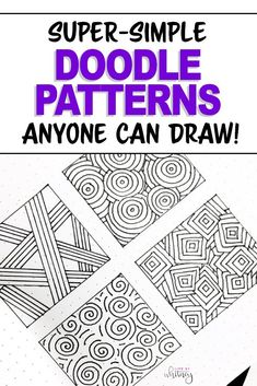 Drawing Doodle Easy Easy doodles for your bullet journal or planner pages - add these simple doodle patterns in blank spaces! These are like little zentangles that you can draw easily and add fun decoration - even if you're only a beginner! Zentangle Patterns For Beginners, Easy Zentangle Patterns, Zen Doodle Patterns, Doodle Art For Beginners, Easy Drawings For Beginners, Doodle Designs, Doodle Borders, Doodle Art Letters, Doodle Art Drawing