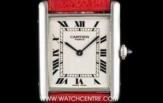 #Cartier Platinum Silver Roman Dial #TankLouis Gents #Wristwatch