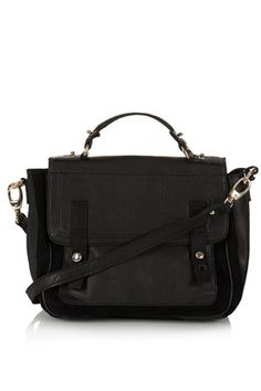 Suede And Leather Satchel - Bags & Purses  - Bags & Accessories