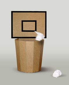 basketball, bin, office Funny bin made from cardboard, perfect for your office :) Cardboard Crafts Kids, Cardboard City, Cardboard Design, Cardboard Display, Cardboard Paper, Cardboard Furniture, Cardboard Recycling Bins, Cardboard Playhouse, Upcycled Crafts
