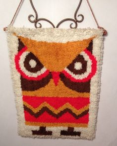 Owl Wall Hanging Tapestry Retro Hooked Rug Mid Century Orange Yellow Hoot Hoot
