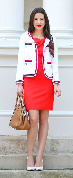 Banana Republic red sheath dress with bow-neck detailing, nautical white tweed blazer, cognac Tory Burch satchel, and classic white pumps | Dressy Casual Labor Day Look | American Feels: Jackie O-Inspired Labor Day Look by fashion blogger Stephanie Ziajka from Diary of a Debutante