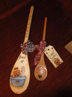 HAND PAINTED GINGERBREAD WOODEN SPOONS. ebay $20