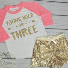 Hipster Kids Clothes Young Wild and Three Third Birthday Shirt Toddler Fashion Trendy Toddler Girl Clothes Trendy Kids Clothes by BumpAndBeyondDesigns