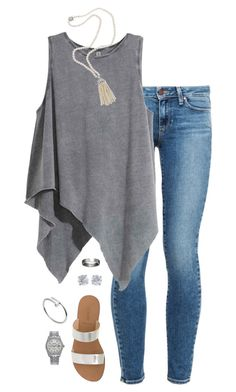 """silver"" by tessorastefan ❤ liked on Polyvore featuring Paige Denim, J.Crew, Fantasia, Cartier, Rolex and Tiffany & Co."