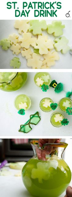 Melons and apples combined with Hawaiian punch, pineapple juice and sprite make the perfect easy St. Patrick's day drink.