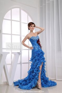 Wonderful Blue Court Train Korea Yarn Silk-like Satin Beading Evening Dress