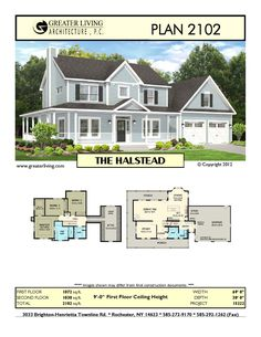 Plan 2102: THE HALSTEAD -  - House Plans -  Two Story House Plans - 2 Story - Greater Living Architecture - Residential Architecture