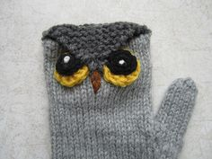Owl Mittens Free Knitting Pattern - more free owl knitting patterns at…