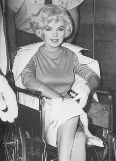 Marilyn leaving hospital after gallbladder surgery; 1961. Hopefully I will look this good when I have my gallbladder surgery in the next few weeks! :) -- jw