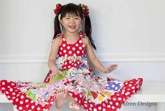 Rainbow Patchwork Twirl Dress ~ by KK Children Designs :)
