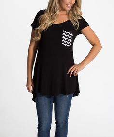 Look what I found on #zulily! PinkBlush Black Chevron-Pocket Maternity Tee - Women #zulilyfinds